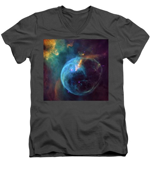 Men's V-Neck T-Shirt featuring the photograph Bubble Nebula by Marco Oliveira