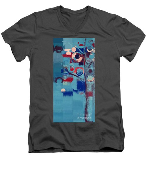 Men's V-Neck T-Shirt featuring the painting Bubble Tree - 85e-j4 by Variance Collections