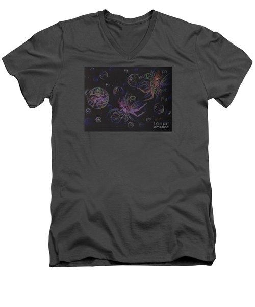 Men's V-Neck T-Shirt featuring the drawing Bubble Wand by Dawn Fairies