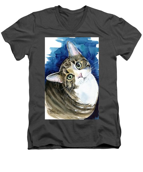 Bubbles - Tabby Cat Painting Men's V-Neck T-Shirt