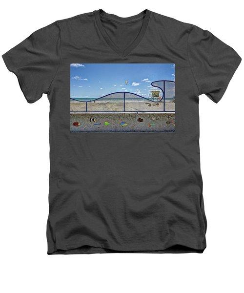 Buccaneer Beach Men's V-Neck T-Shirt by Ann Patterson