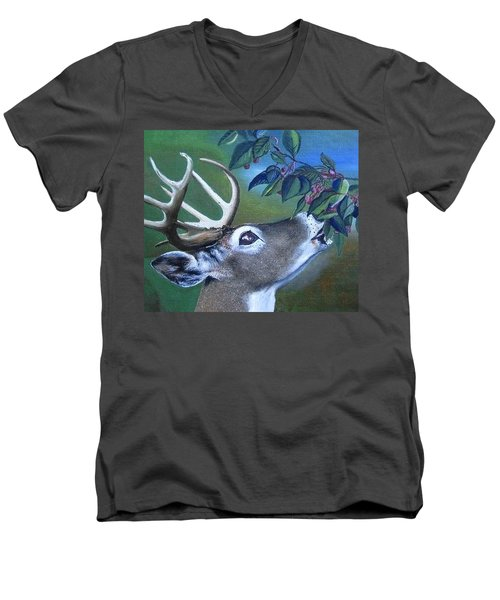 Men's V-Neck T-Shirt featuring the painting Buck by Mary Ellen Frazee