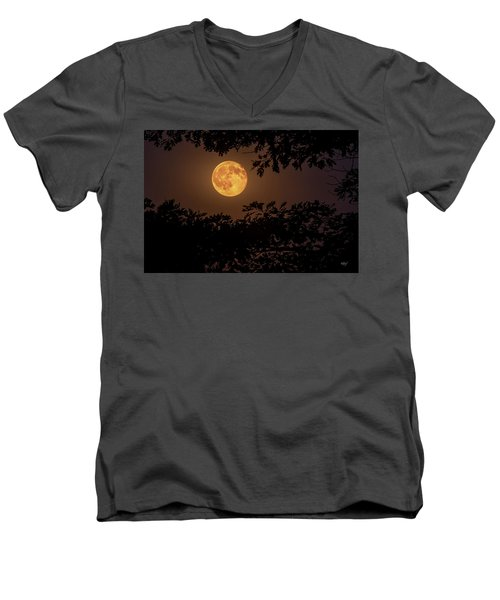 Men's V-Neck T-Shirt featuring the photograph Buck Moon 2016 by Everet Regal