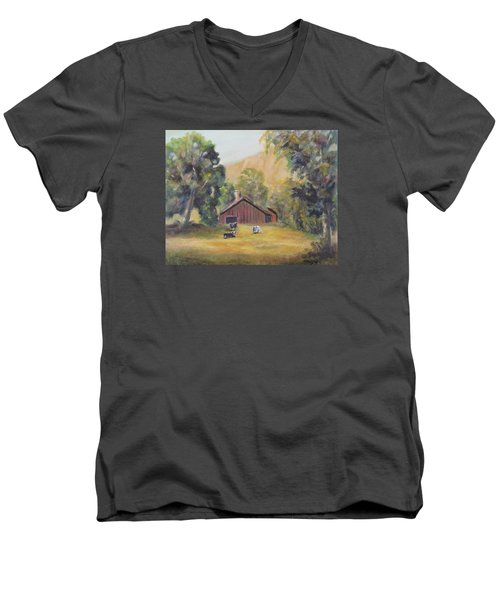 Men's V-Neck T-Shirt featuring the painting Bucks County Pa Barn by Luczay