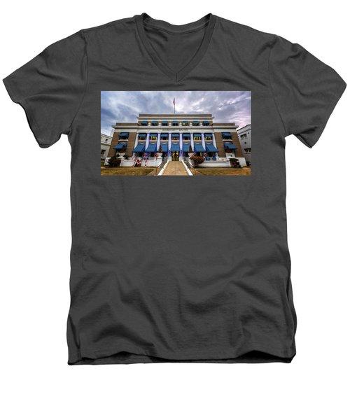 Men's V-Neck T-Shirt featuring the photograph Buckstaff Bathhouse - Christmas by Stephen Stookey