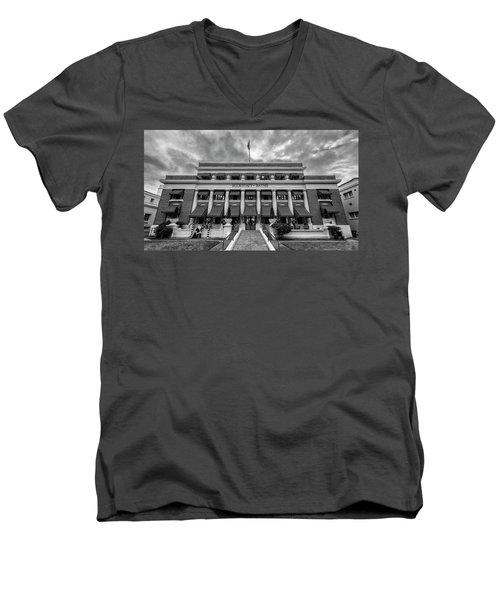 Men's V-Neck T-Shirt featuring the photograph Buckstaff Baths - Bw by Stephen Stookey