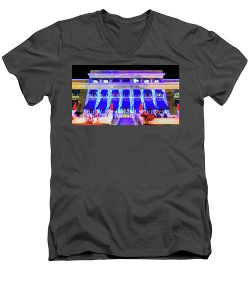 Men's V-Neck T-Shirt featuring the photograph Buckstaff Baths - Christmastime by Stephen Stookey