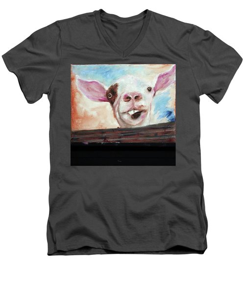 Bucktooth'd Goat Part Of Barnyard Series Men's V-Neck T-Shirt