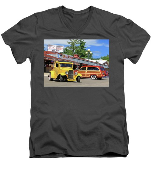 Men's V-Neck T-Shirt featuring the photograph Bud Tent Hot Rods by Christopher McKenzie