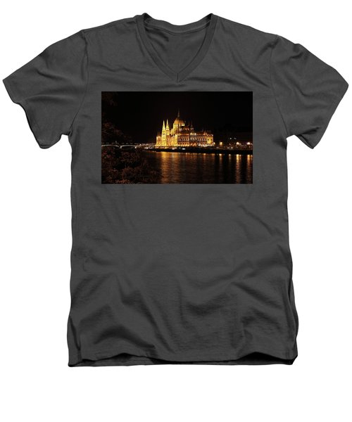 Men's V-Neck T-Shirt featuring the digital art Budapest - Parliament by Pat Speirs