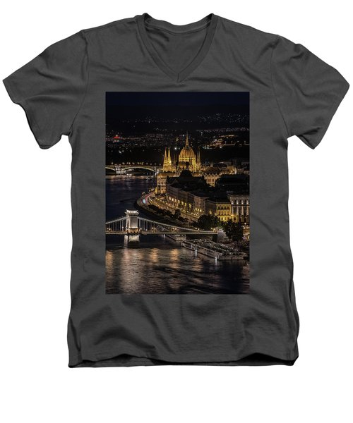 Men's V-Neck T-Shirt featuring the photograph Budapest View At Night by Jaroslaw Blaminsky