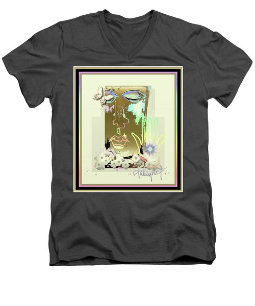 Men's V-Neck T-Shirt featuring the mixed media Buddha Blessing by Larry Talley
