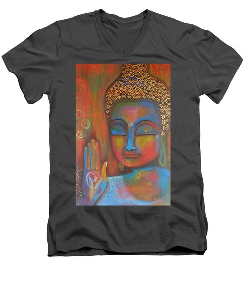 Men's V-Neck T-Shirt featuring the painting Buddha Blessings by Prerna Poojara