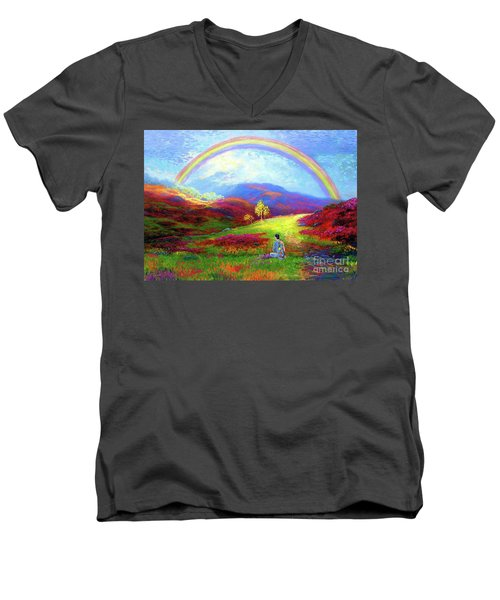 Men's V-Neck T-Shirt featuring the painting Buddha Chakra Rainbow Meditation by Jane Small