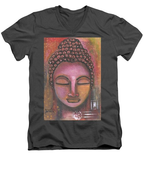 Men's V-Neck T-Shirt featuring the mixed media Buddha In Shades Of Purple by Prerna Poojara