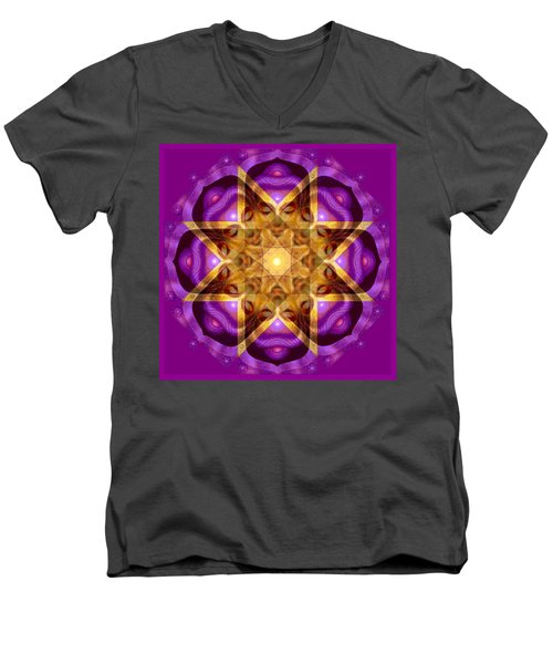 Men's V-Neck T-Shirt featuring the painting Buddha Mandala by Sue Halstenberg