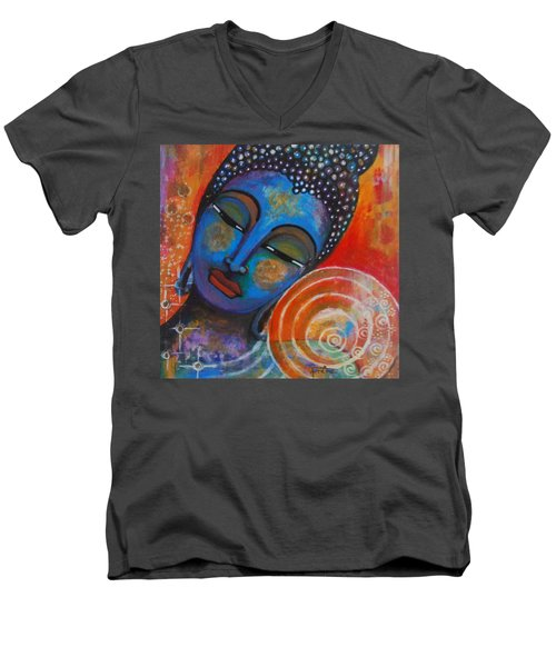 Men's V-Neck T-Shirt featuring the painting Buddha by Prerna Poojara
