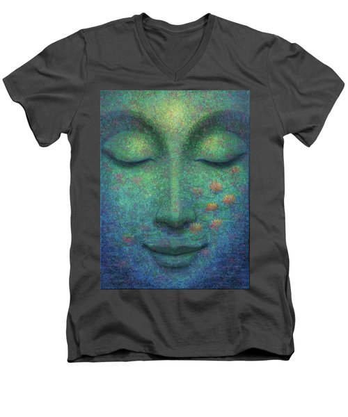 Men's V-Neck T-Shirt featuring the painting Buddha Smile by Sue Halstenberg