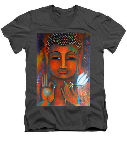 Men's V-Neck T-Shirt featuring the painting Buddha With A White Lotus In Earthy Tones by Prerna Poojara