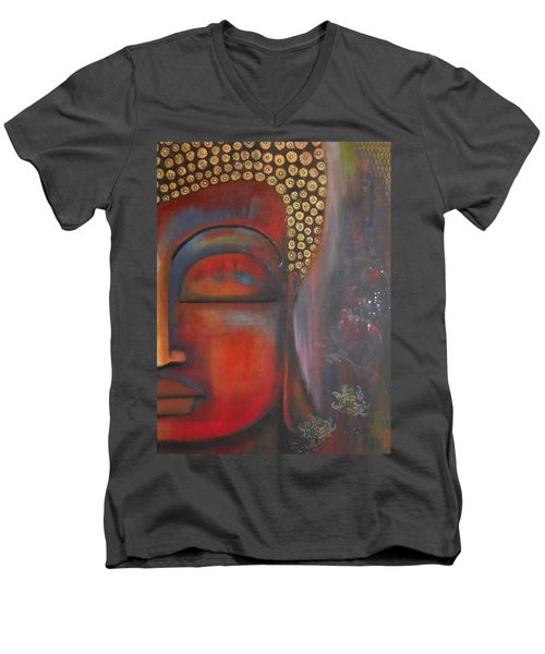 Men's V-Neck T-Shirt featuring the painting Buddha With Floating Lotuses by Prerna Poojara