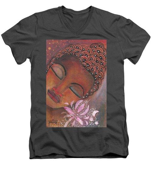 Buddha With Pink Lotus Men's V-Neck T-Shirt