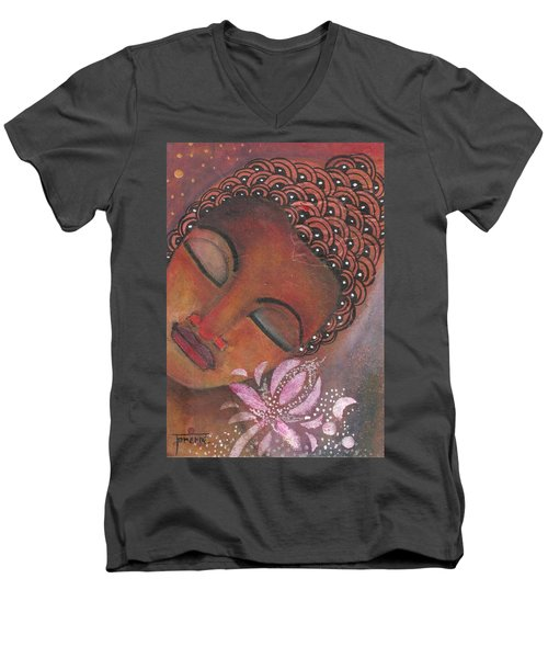 Men's V-Neck T-Shirt featuring the painting Buddha With Pink Lotus by Prerna Poojara