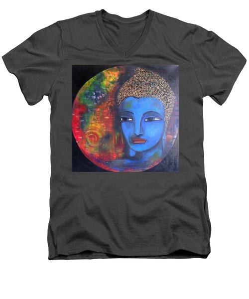 Men's V-Neck T-Shirt featuring the painting Buddha Within A Circular Background by Prerna Poojara