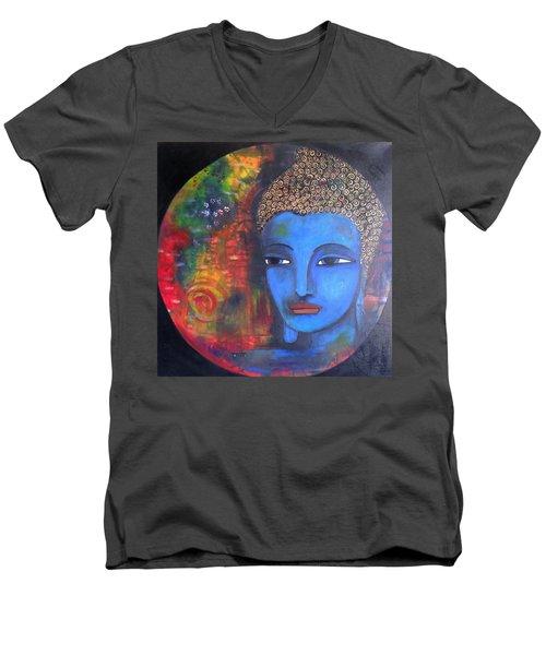 Buddha Within A Circular Background Men's V-Neck T-Shirt