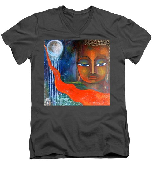 Men's V-Neck T-Shirt featuring the painting Buddhas Robe Reaching For The Moon by Prerna Poojara