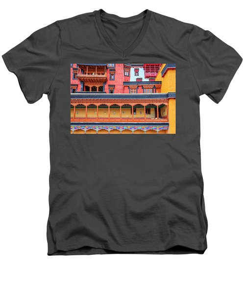 Men's V-Neck T-Shirt featuring the photograph Buddhist Monastery Building by Alexey Stiop