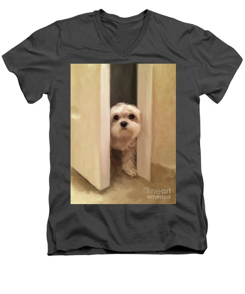 Men's V-Neck T-Shirt featuring the photograph Hello by Lois Bryan
