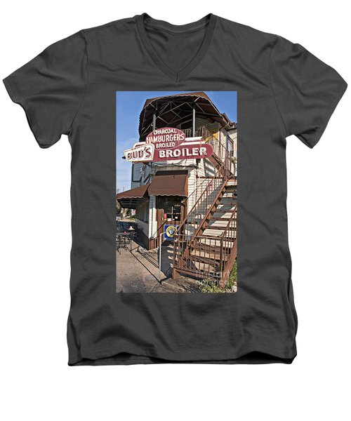 Bud's Broiler New Orleans Men's V-Neck T-Shirt by Kathleen K Parker