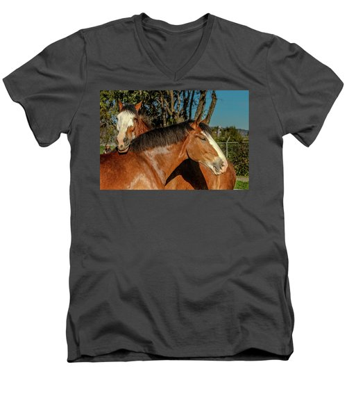 Men's V-Neck T-Shirt featuring the photograph Budweiser Clydesdales  by Bill Gallagher