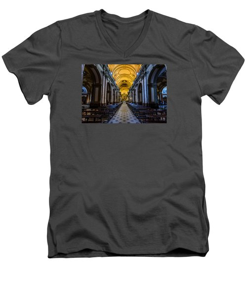Buenos Aires Metropolitan Cathedral Men's V-Neck T-Shirt by Randy Scherkenbach