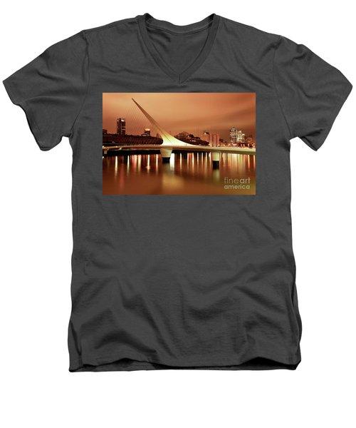 Buenos Aires On Fire Men's V-Neck T-Shirt by Bernardo Galmarini