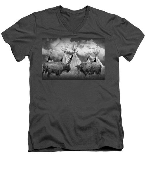 Buffalo Herd Among Teepees Of The Blackfoot Tribe Men's V-Neck T-Shirt