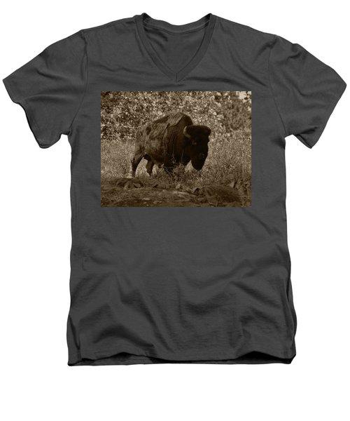 Buffalo Junction Men's V-Neck T-Shirt by B Wayne Mullins