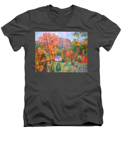Men's V-Neck T-Shirt featuring the painting Buffalo Mountain In Fall by Kendall Kessler