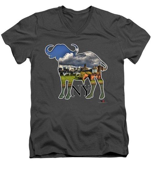 Buffalo Ny Along The Marina Men's V-Neck T-Shirt by Michael Frank Jr