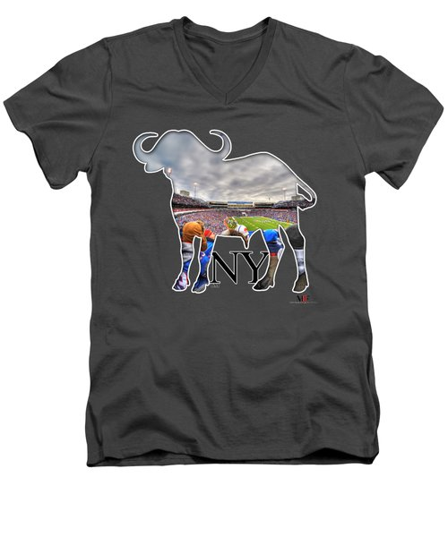 Buffalo Ny Bills Game Men's V-Neck T-Shirt by Michael Frank Jr