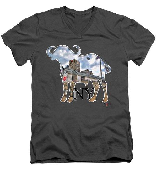 Buffalo Ny Coca Cola Field  Men's V-Neck T-Shirt by Michael Frank Jr