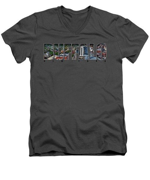 Buffalo Ny Niagara, Elmwood And Delaware Men's V-Neck T-Shirt by Michael Frank Jr