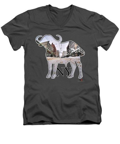 Buffalo Ny Snowy Main St Men's V-Neck T-Shirt by Michael Frank Jr