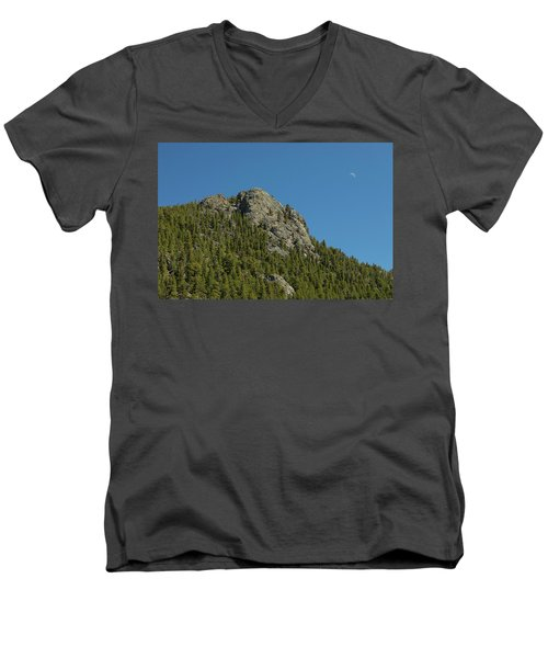 Men's V-Neck T-Shirt featuring the photograph Buffalo Rock With Waxing Crescent Moon by James BO Insogna