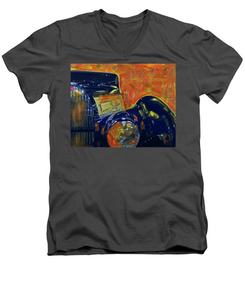 Bugatti Abstract Blue Men's V-Neck T-Shirt by Walter Fahmy