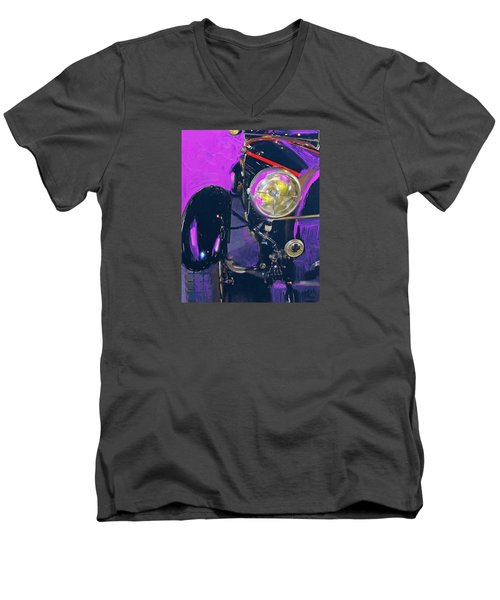 Bugatti Abstract Purple Men's V-Neck T-Shirt