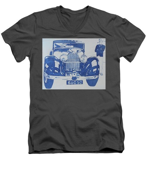Men's V-Neck T-Shirt featuring the drawing Bugatti by Mike Jeffries