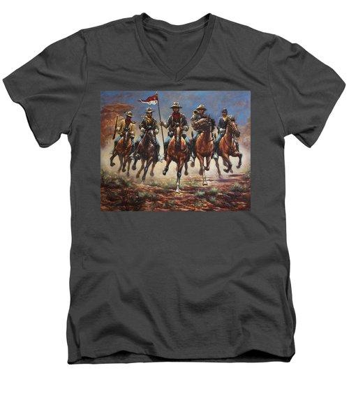 Bugler And The Guidon Men's V-Neck T-Shirt