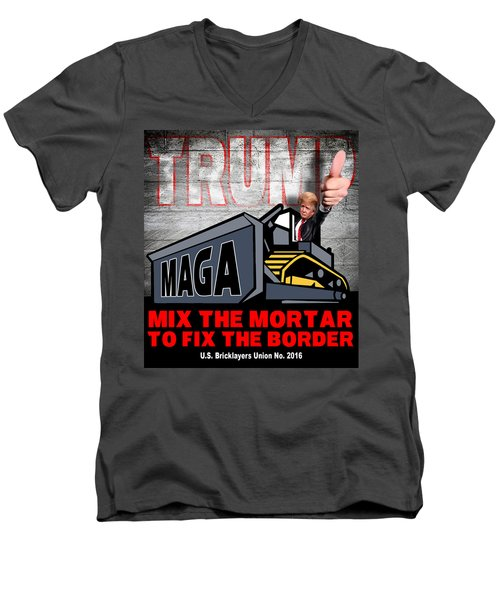 Build The Wall Men's V-Neck T-Shirt by Don Olea