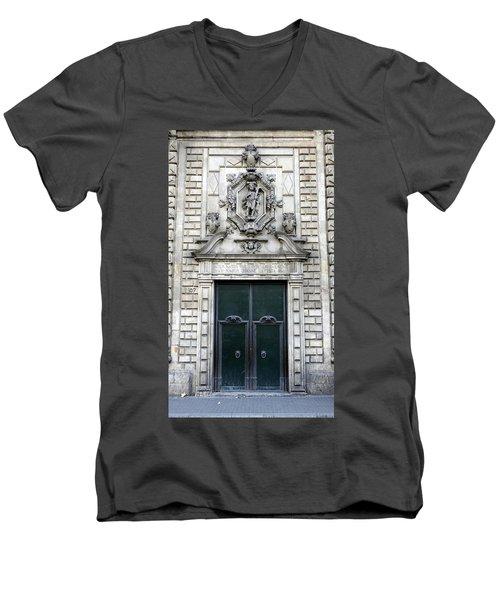 Building Artwork And Old Door In Barcelona Men's V-Neck T-Shirt by Richard Rosenshein